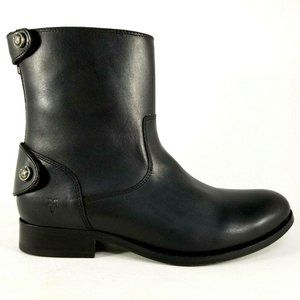 Frye Melissa Button Short Leather Boots 7 Black